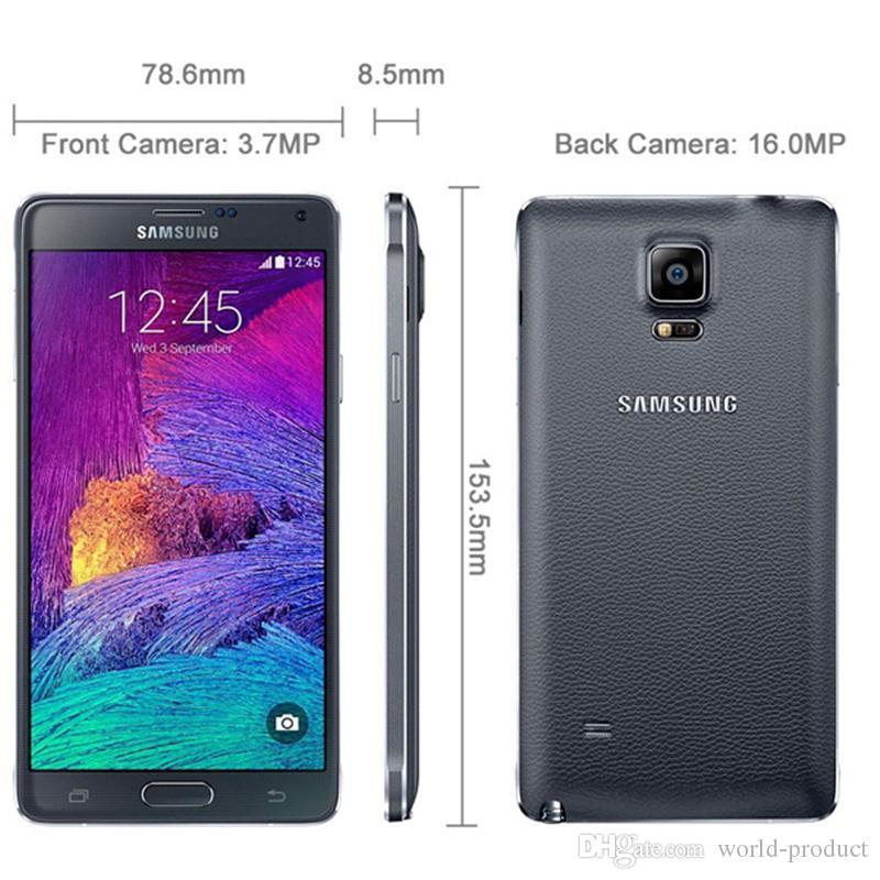 مجدد Galaxy Note 4 الأصلي سامسونج N910F / A / V / P / T RAM 3GB ROM 32GB 4G LTE رباعية النواة الهاتف مقفلة