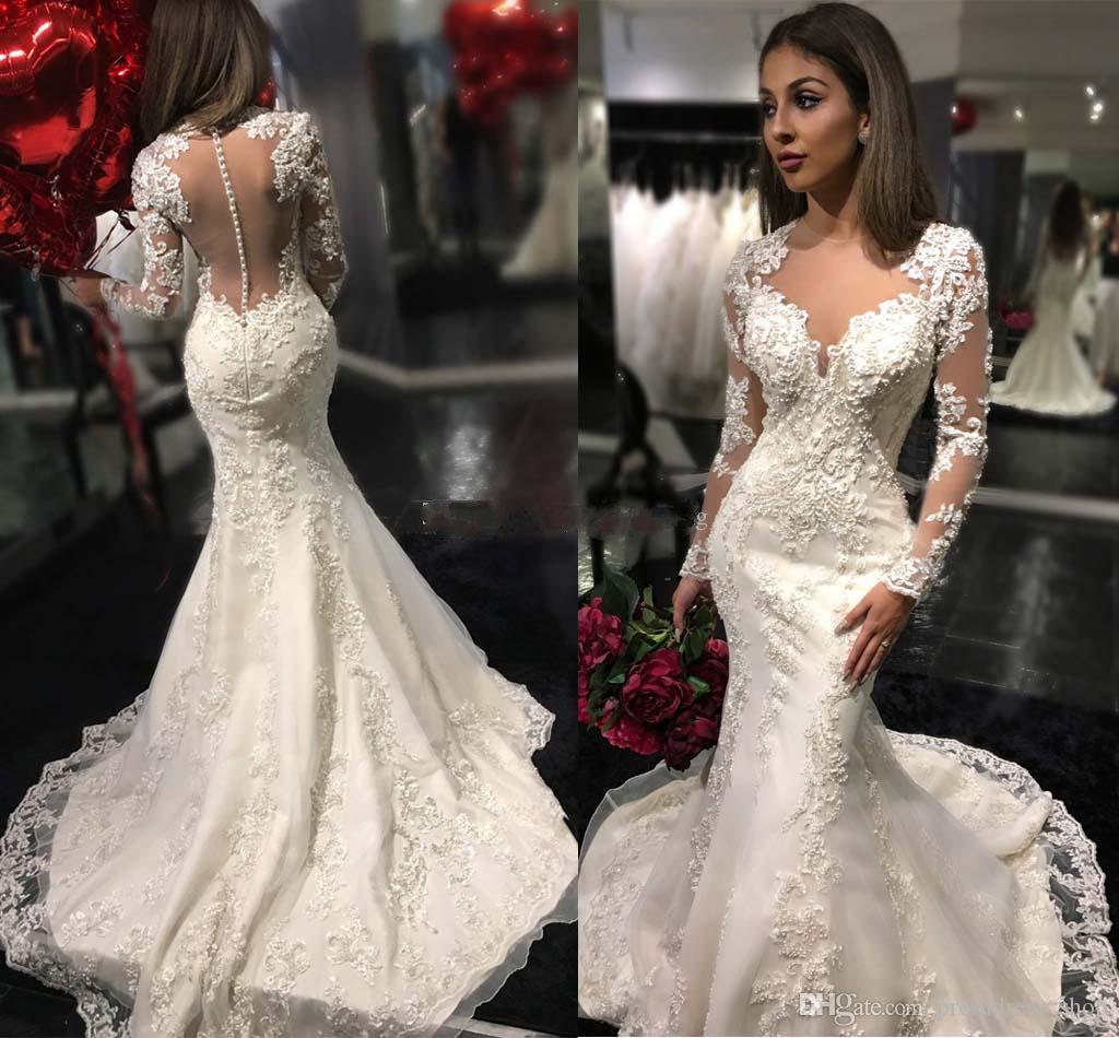 172b30e97ec Discount 2019 Long Sleeves Mermaid Wedding Dresses Sheer Neck Appliques  Tulle Satin Custom Made Sexy Chapel Covered Buttons See Through Back Red  Wedding ...