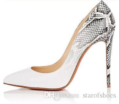 2018 Faux Snake Lackleder High Heels Schuhe Sexy Spitzschuh Dünne Absätze Frauen Schuhe Kim Kardashian Stil Frauen Pumps