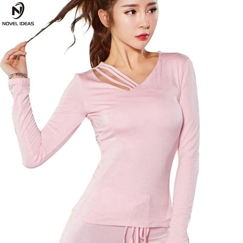 Acheter Femmes Cut Out Yoga Top À Manches Longues Sport T Shirt Quick Dry Fitness  Vêtements Gym Réservoir Running Shirt Chemises De Jogging Activewear De ... 10f69501000