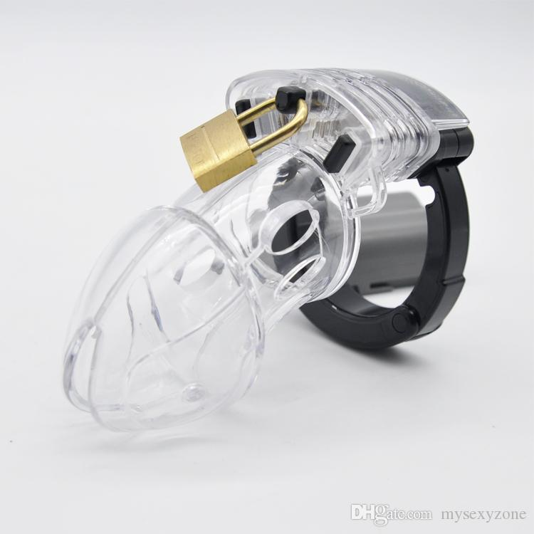 2018 New and High quality of Male chastity belt cb male chastity device cock cage silicone penis cage MKC207 clear
