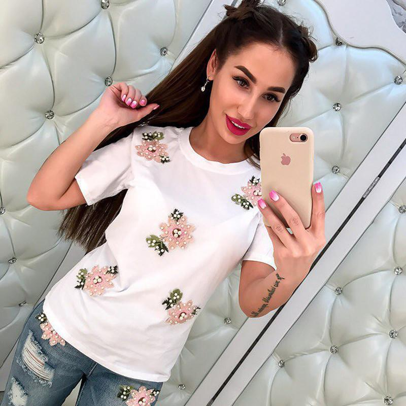 ... Pearl Beading T Shirts Women Flower Embroidery Tee Shirt Femme Top  Dropship The Coolest T Shirts T Shirt Shirt Designs From Mobile01 49fedb568
