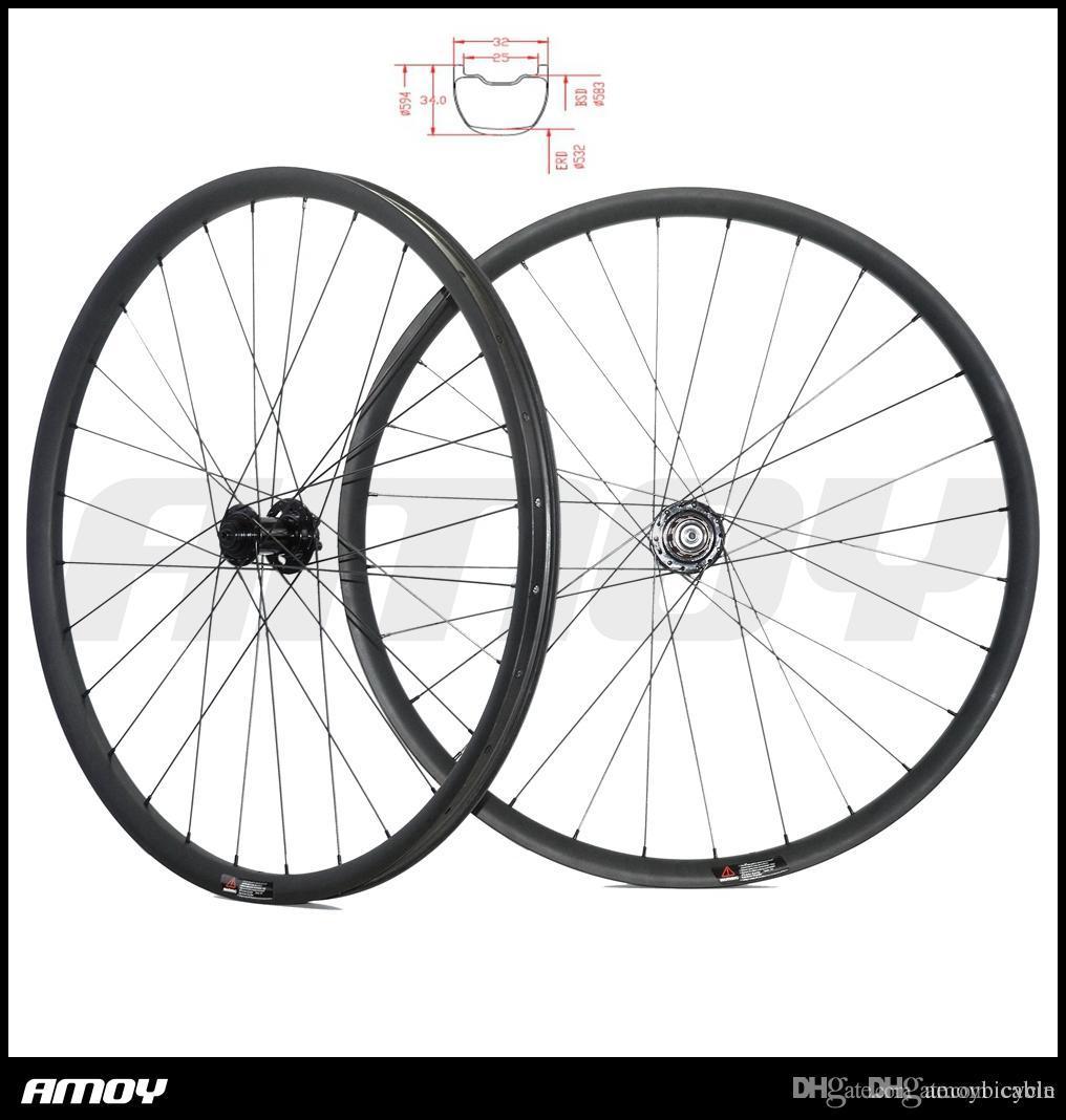 5339b2f3148 27.5er MTB AM ENDURO 32mm hookless TUBELESS carbon wheels 34mm deep UD 3K  matte glossy 28H 32H 650B mountain wheelset