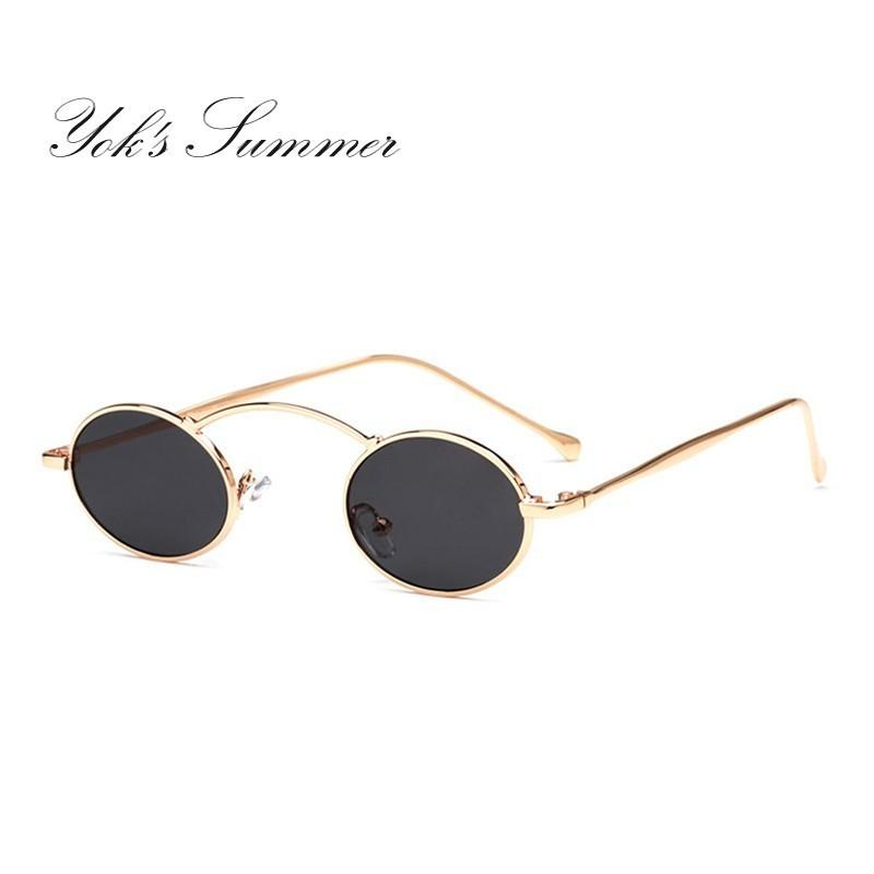 bf234e383ee8d Yok S Steampunk Oval Small Sunglasses Women 90s Vintage Gold Black Metal  Frame Tiny Sun Glasses Men Mini Round Gothic Oculos WN1078 Polarized  Sunglasses ...