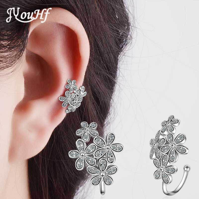 JYouHF New Design Beautiful Flower Ear Cuff Earrings Women Cubic Zirconia White/Rose Gold Color No Pierced Ear Cuff Clip Earring