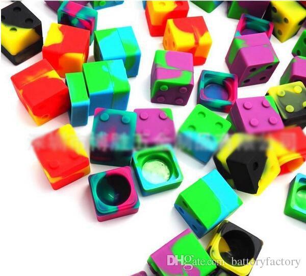 Slick pilha lego em forma de 9 ml de silicone quadrado bho recipiente de óleo de silício dab cera jarra de armazenamento para concentrados de cera e BHO Em Estoque