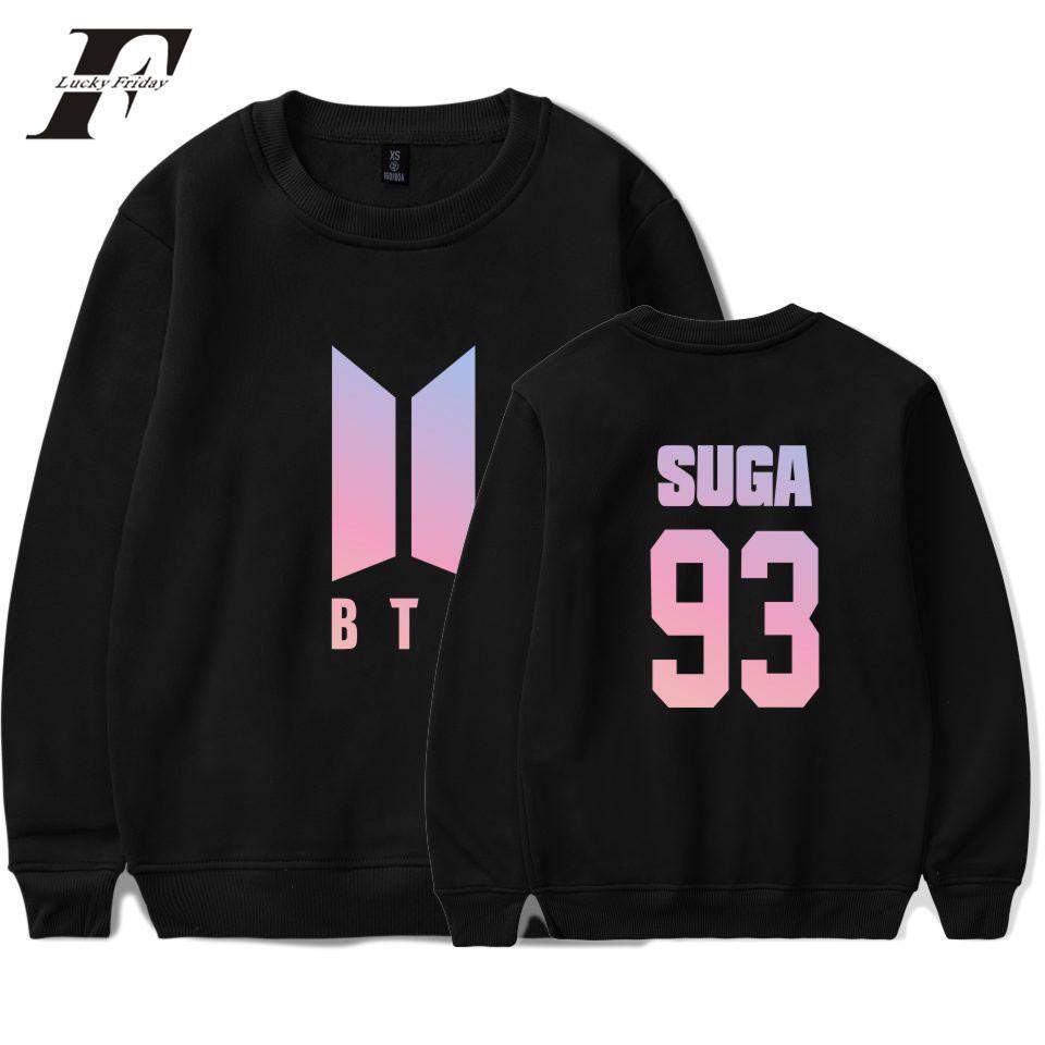 Wholesale-BTS Group Harajuku Hoodies Women Bangtan Kpop Fans Capless  Sweatshirt Women Hoodies Love Yourself Album Clothes