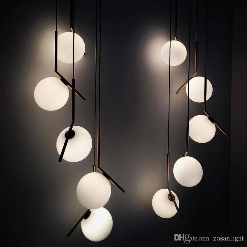 2018 Lampada a sospensione di design moderno Lampade a sfera a sfera in metallo bianco E14 Glass Shade Modern Hanging Pendant Light Spedizione gratuita