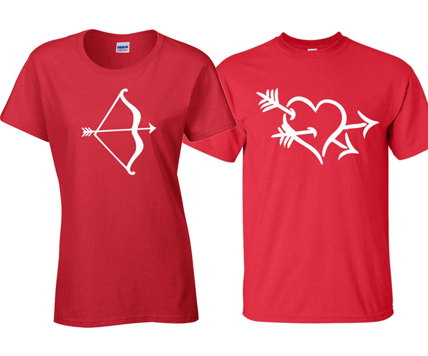 Couple Matching Love Struck Bow Arrow Heart Valentine Day Red Tee