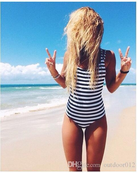 61aa651fbd7 Fashion European American Navy Series One Piece Black And White Stripe  Bikini Swimwear Swimming Wear for Women Fashion Swimsuit Plus Size Swimwear  One Piece ...