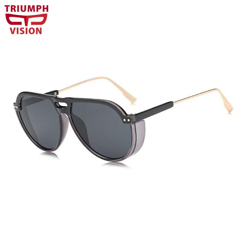 fcecf90c59c Compre VISÃO TRIUNFO BlackThick Mens Óculos De Sol Piloto Steampunk Estilo  Shades Cool Design Da Marca 2018 New Sun Glasses Para Homens Oculos De De  ...