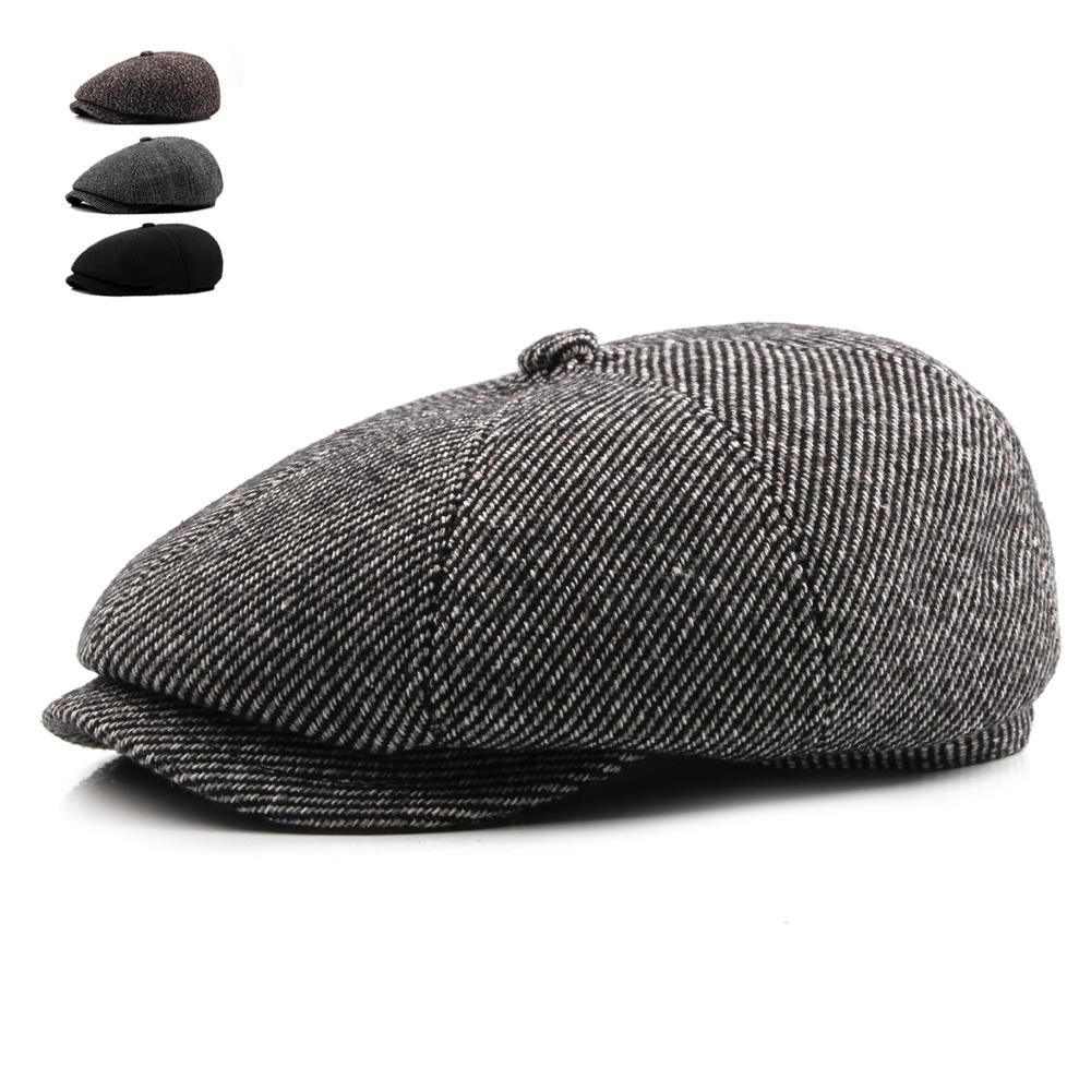 255881402 Tweed Gatsby Autumn Winter Newsboy Cap Men Wool Ivy Hat Golf Driving Cabbie  Flat Unisex Berets Hat Peaky Blinders Hats