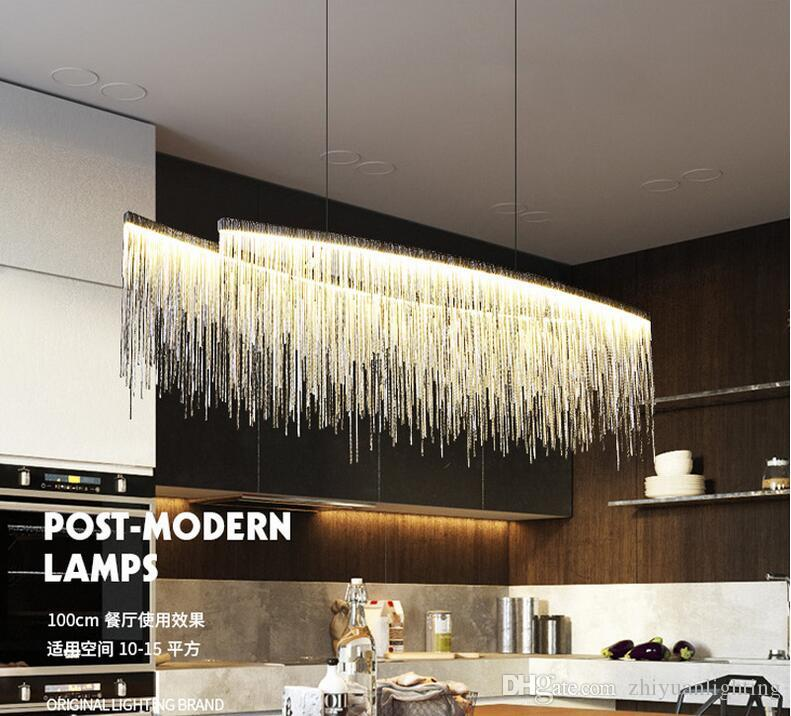 Modern Minimalist Aluminum Chain Pendant Lights Led Chandeliers Hanging Lamp Suspension Livingroom Indoor Lighting Fixture Ceiling