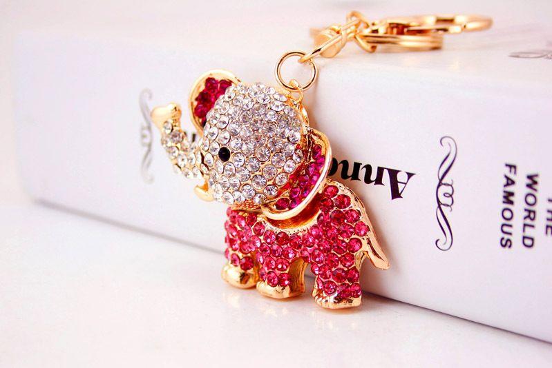 Новый дизайн Кристалл прекрасный Elphant брелок брелок сумка / кошелек Шарм подарок реального позолоченный, сплав брелок для ключей