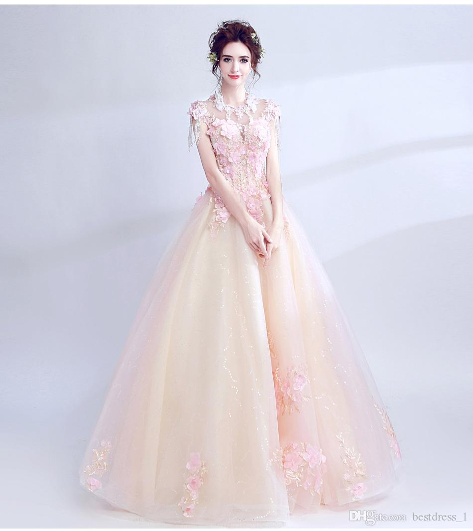 2018 Jewel Neck Cap Sleeve Lace Grey And Pink Flowers Wedding Gowns