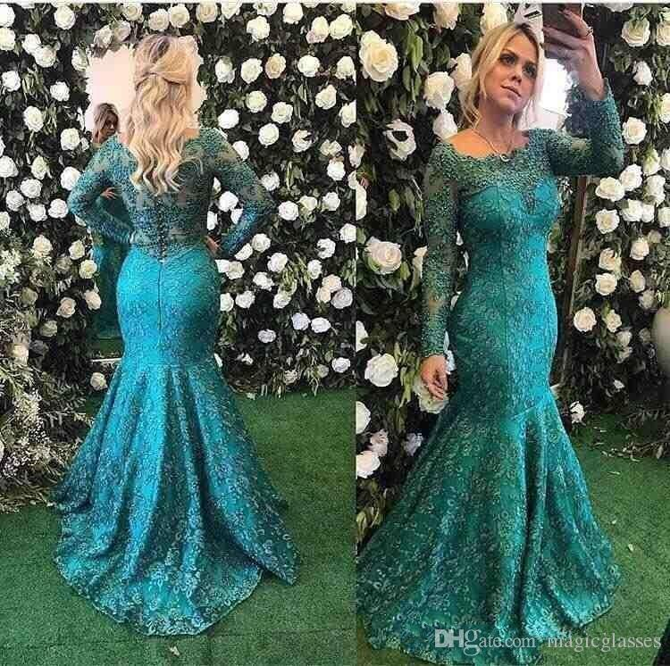 Barbara Melo Long Sleeve Lace Mermaid Evening Formal Dresses 2018 Teal Burgundy Beaded Full length Fishtail Prom Party Gowns Cheap