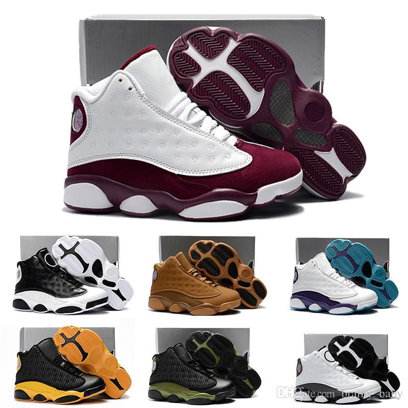 af03e45d268 Acheter 2018 Baby Kids Lettre Nike Air Jordan 13 Retro Premiers Marcheurs  Bas Doux Pour Bébés Chaussures Antidérapantes Hiver Chaud Chaussures Pour  Tout ...
