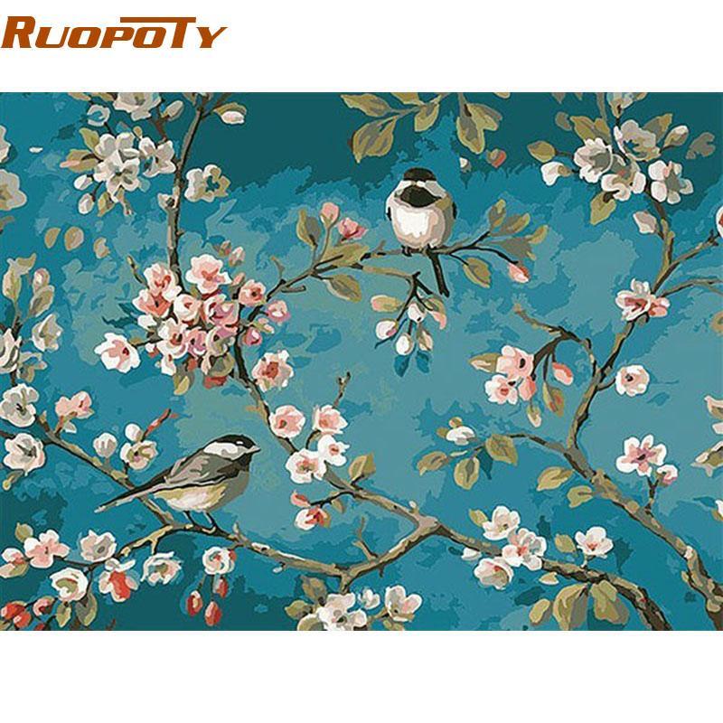 Großhandels Ruopoty Vögel Und Blume Diy Malen Nach Zahlen Kits Zeichnung Auf Leinwand Home Wall Art Decor Handbemalte Malerei Für Artwork