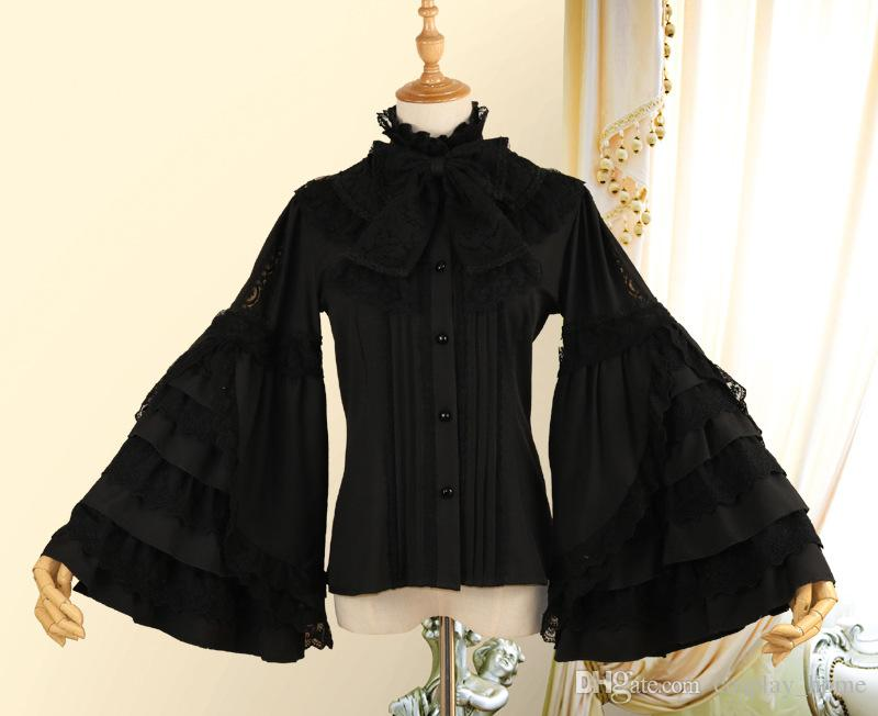 33ee14031d304c 2018 Original LOLITA White Black Chiffon Long Flare Sleeve Shirt Retro  Summer Stand Collar Women's Gothic Blouse Costumes