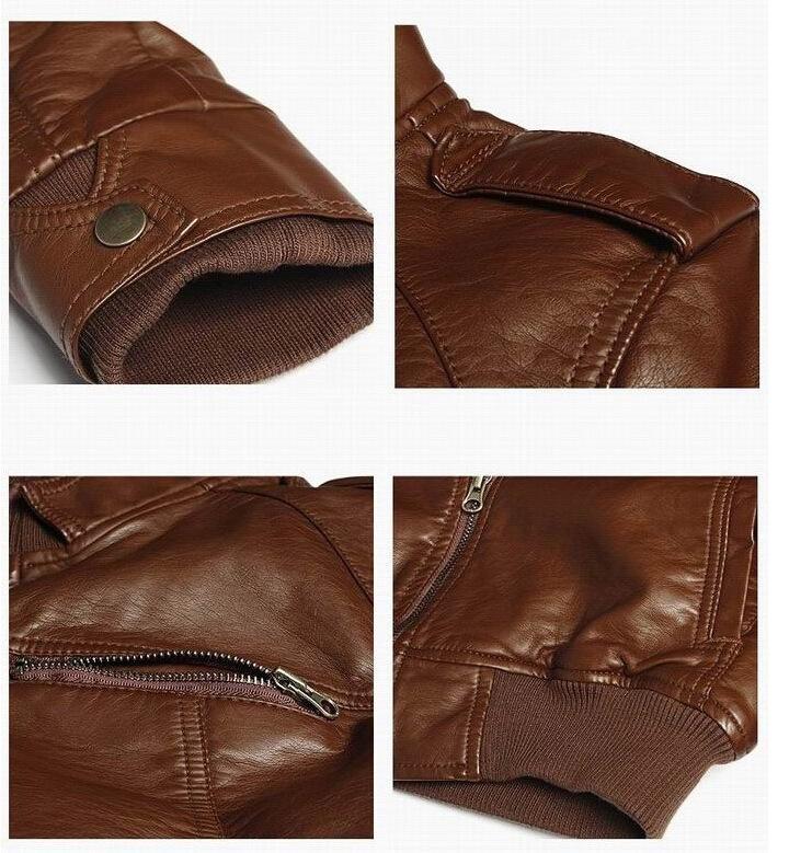 Nuevo Mens PU Chaqueta de cuero corto Slim Leisure Wash Masculino Outwear Coat Alta calidad Casual Motocicleta Chaqueta