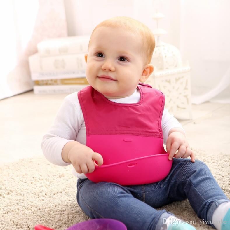 DHL Baby Infants Kids Cute Bibs Lunch Bibs Newborn Children Waterproof Towel Washable Silicone Roll Up Bibs