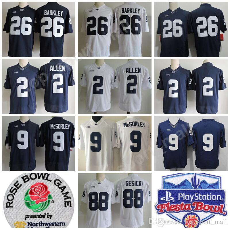 fb73505d0 2019 PSU College 9 Trace McSorley Jersey Penn State Nittany Lions Fiesta  And Rose Bowl Patch Football 2 Marcus Allen 88 Mike Gesicki Big Ten From ...
