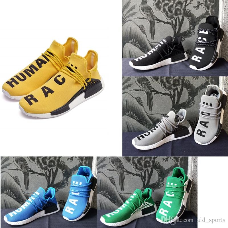 7ef23e9bdb716d 2018 Pharrell Williams X NMD Human Race NMD Runing Shoes Women Men Sports  Shoes Athletic Outdoor Shoes Yellow Blue Sale Shoes Men Shoes Online From  ...