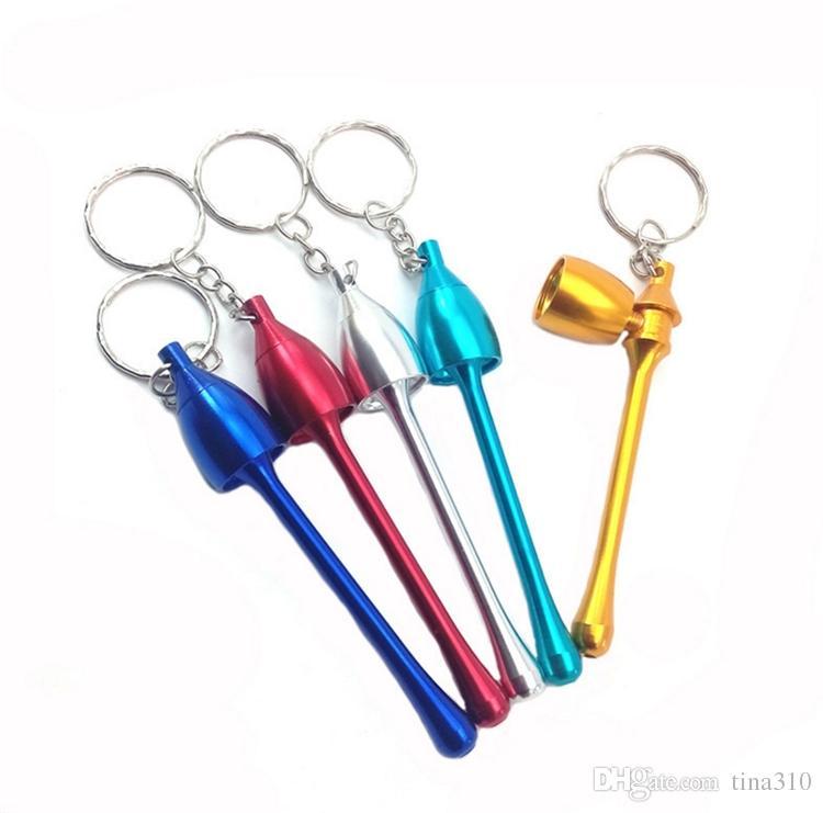 cachimbos estilos Mini Keychain Cogumelo fumadores Acessórios final da tubulação Mini alumínio Metal Keychain Fumo da tubulação presente I177