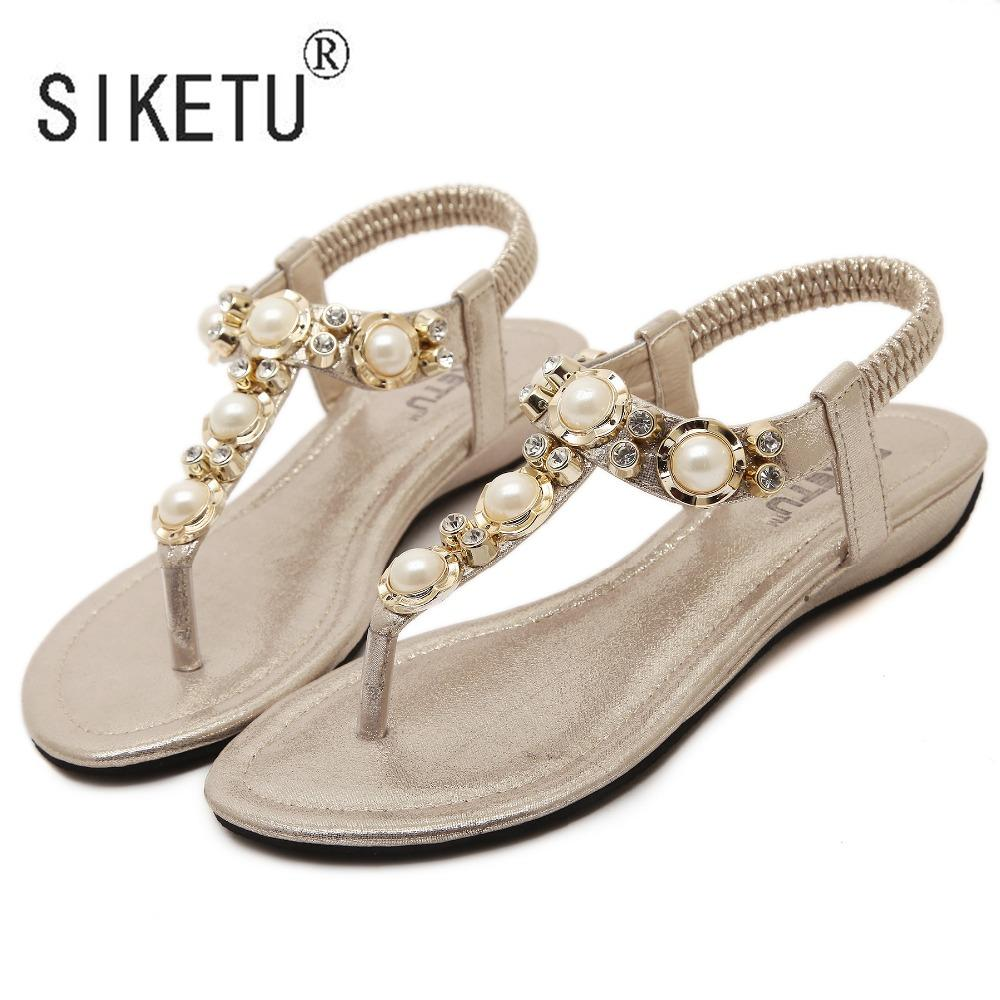 cf1534a0e125 SIKETU Brand 2017 Women Shoes New Fashion Summer Women Sandals Rhinestone  Pearl With Leisure Beach Shoes 34 40 Gold Shoes Flat Shoes From Yera