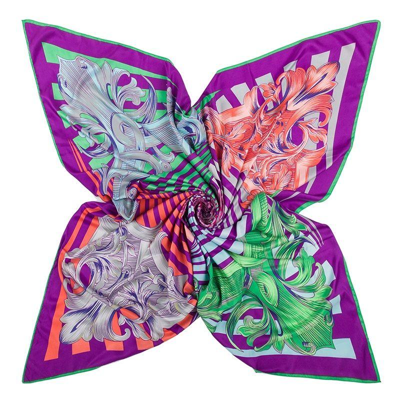 European Style Women Paulownia Scarf 100% Twill Silk Satin Large Square Scarf Ladies V Letter Floral Geometric Print Shawl 22 68pr Y