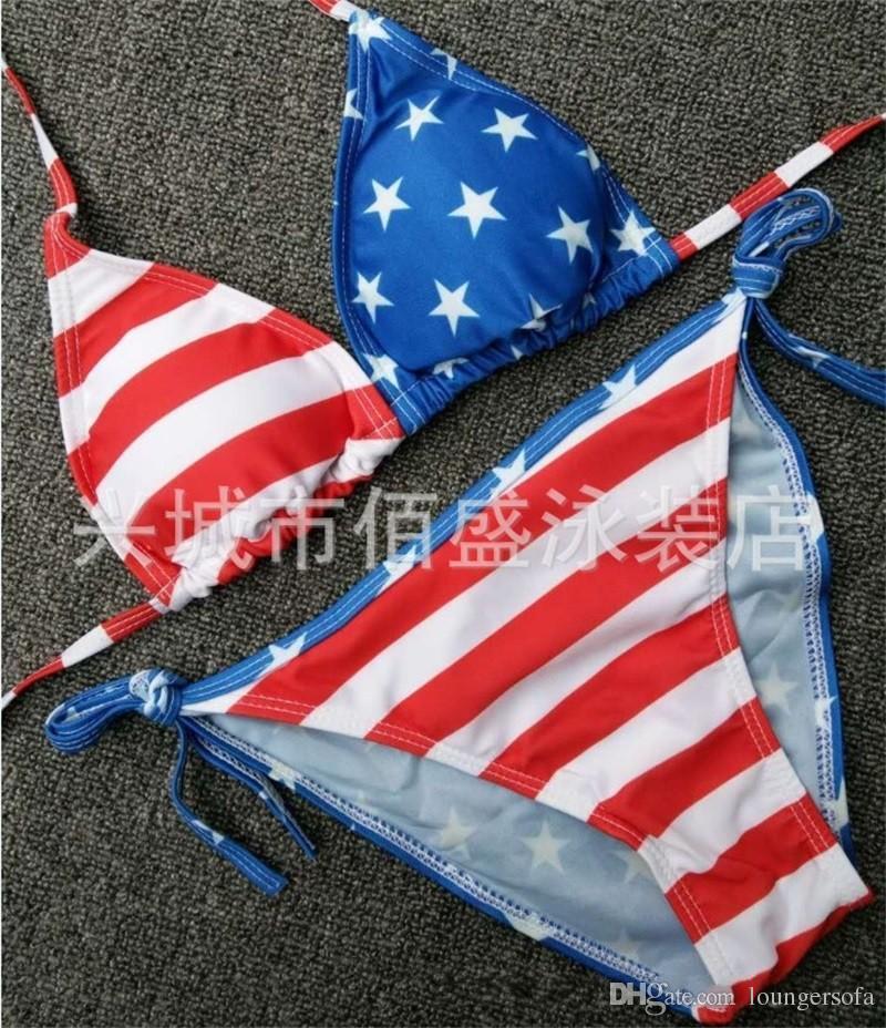 Bikini sexy de la mode des femmes d'été maillot de bain fendue de couleur peinte drapeau suspendu deux pièces maillot de bain ensemble 18xs w