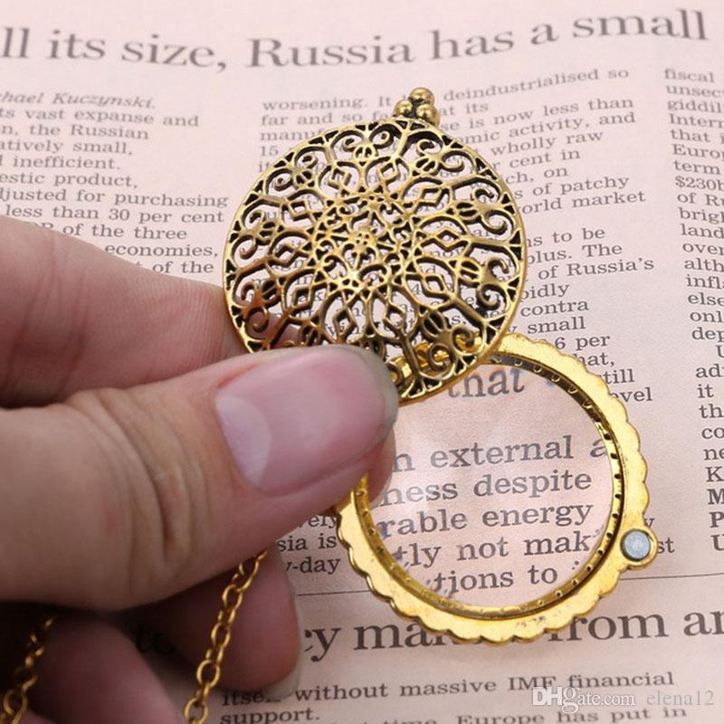 5 times Vintage Magnifying Glass Pendant Necklace tree of life Owl Life Tree Pocket collar collier can oppen pendant jewelry 162617