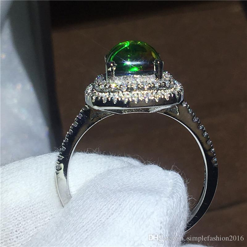Gros Bridal 925 Sterling silver ring Coloré Ammolite Opal Pierre Fiançailles De Fiançailles anneaux pour les Femmes Bijoux Unique