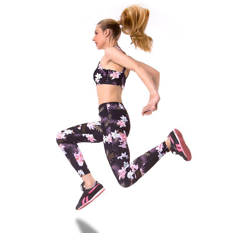 3d917ff94a9 Sport Clothing Floral Printing Tracksuit Yoga Sport Suit Women Sportswear  Women Gym Yoga Set Suit For Fitness Bra Leggings