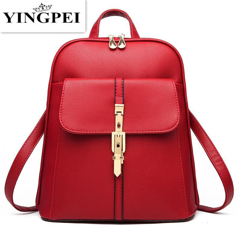 894ebbe54e09 Luggage Bags Backpacks YINGPEI Backpacks Women Pu Leather School Bag Girls  Female Candy Color Travel Shoulder Bags Waterproof Back Bag Bag Mochila  Backpack ...