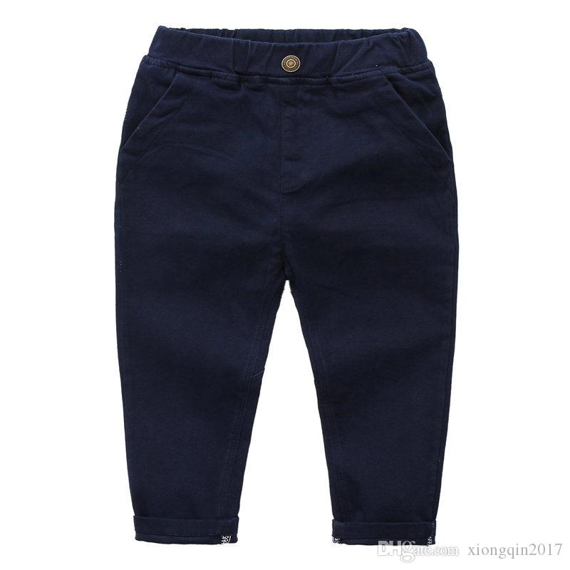 e6cf4e08d158 Children Autumn Pants Fashion New Boy Solid Color Jeans Children ...