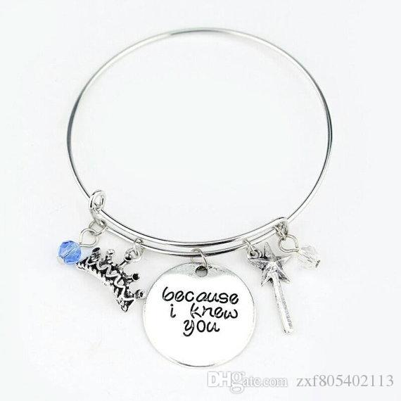 88670f6a95d1f Wicked The Musical Quote Bracelet,Because I knew you, I have..changed for  good, Bangle jewelry Elphaba and Galinda, Friend gift