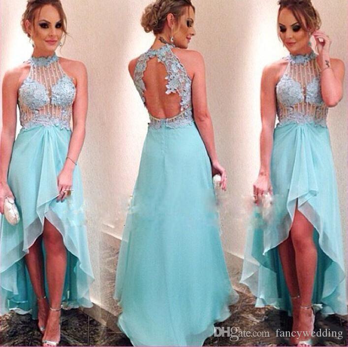2018 New Coming Light Blue Sky Hot Sell High Low A Line Halter Backless Bead Elegent Custom Made Evening Dress
