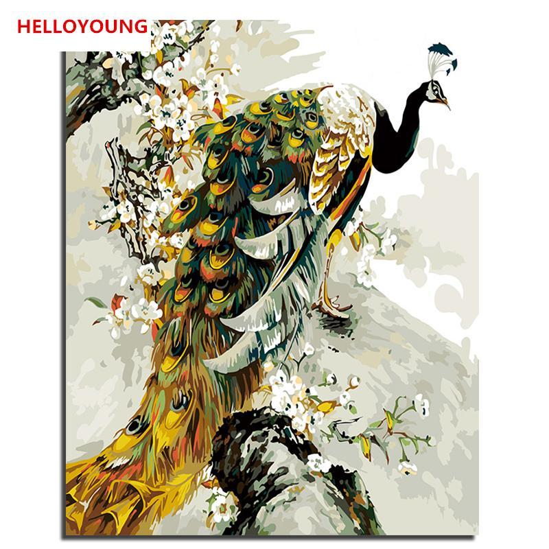 Satın Al Helloyoung Diy Handpainted Yağlıboya Altın Tavuskuşu