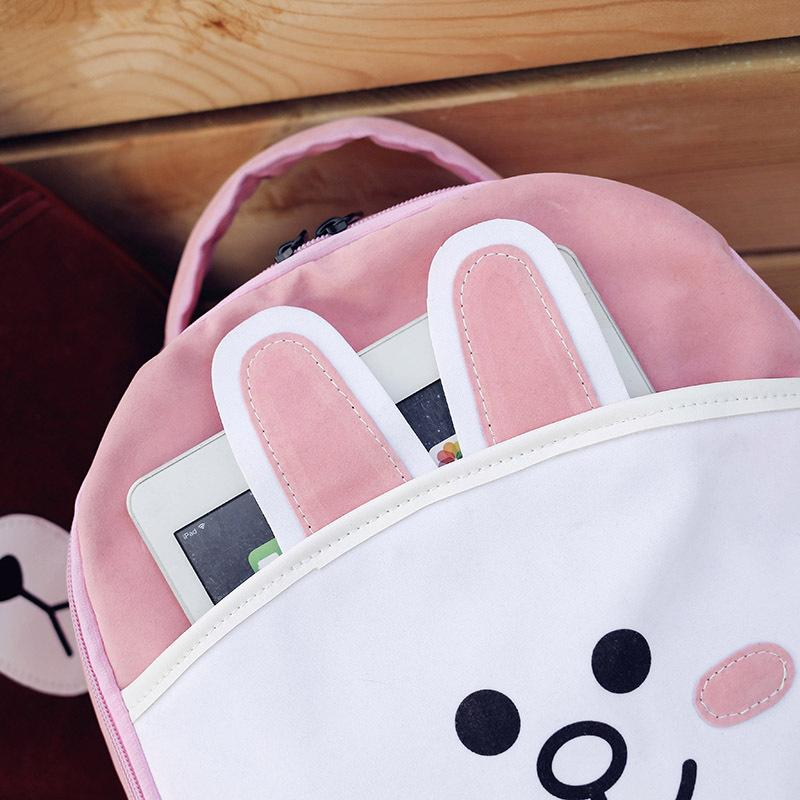 2017 New Hot Fashion Women Female Korean Style Cute Cartoon Brown Bear Rabbit Lovely Casual Canvas Backpacks Shoulder Bags