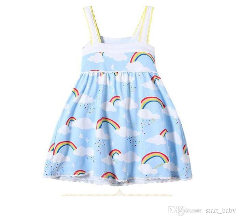 Girls Rainbow Vest Dress Cloud Sky Printed Lace Edge Design Suspender Skirt Soft Breathable Cool Cotton Fabric Summer Dresses B11