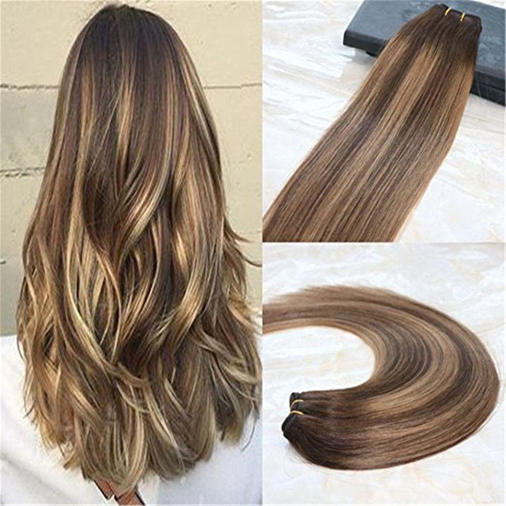 Großhandel Echthaar Doppeleinschlagfaden Haarverlängerungen Balayage Ombre  Remy Haarfarbe # 4 Dunkelbraun Verblassen Bis # 27 Honigblond Ombre Color  ...