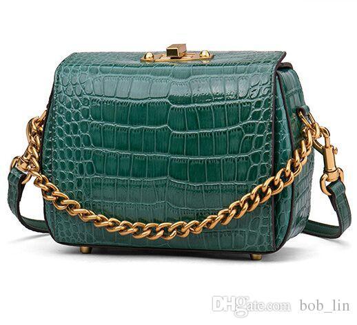 Diseñador de lujo bolsos de cuero de cocodrilo pequeños bolsos de cuero genuino Crossbody Bolsos de hombro de cadena de señoras de alta calidad verde