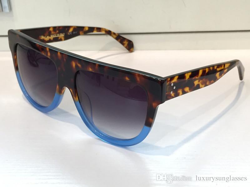 ترف 41026 خمر النظارات الشمسية أودري أزياء المرأة مصمم الإطار الكبير رفرف الأعلى المتضخم أعلى النظارات الشمسية ليوبارد الكمبيوتر الإطار المواد