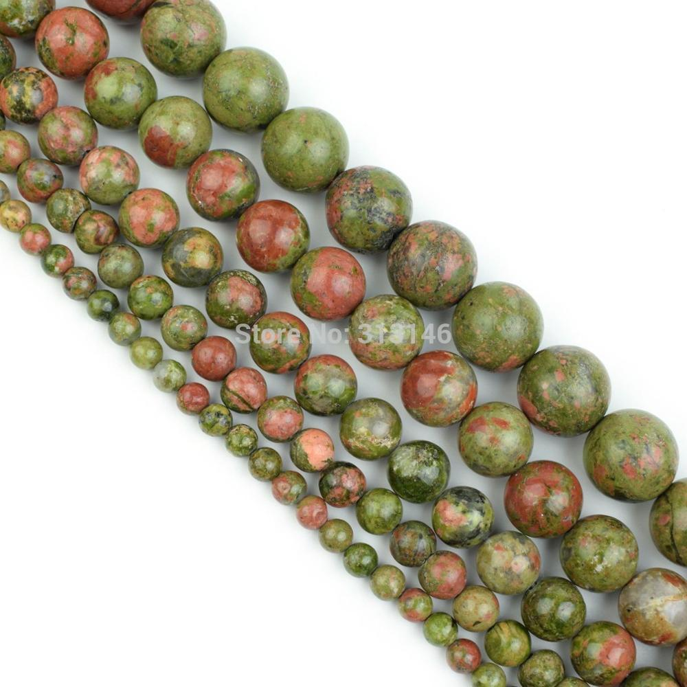"Bulk Wholesale Natural Stone Unakite Beads 4 6 8 10 12MM Full 15"" Strand Pick Size For Necklace Bracelet Diy Jewelry Making"