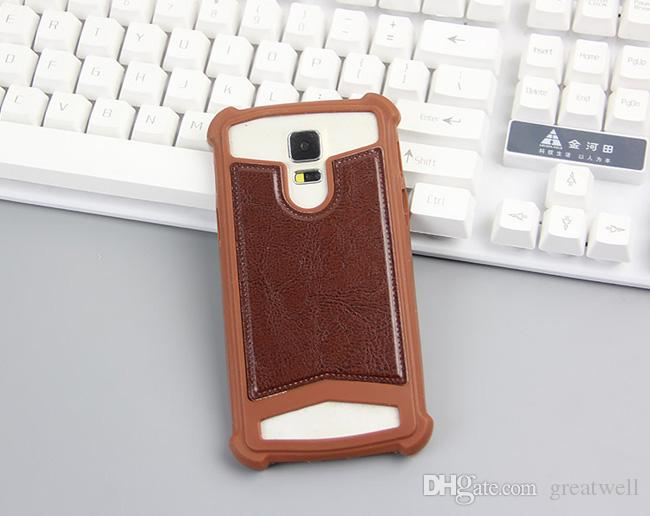 Universal TPU Cover Silicone Phone Läderfodral för iPhone Samsung Huawei 4,0 till 5,7 tum med ringstativ Mobiltelefonväskor