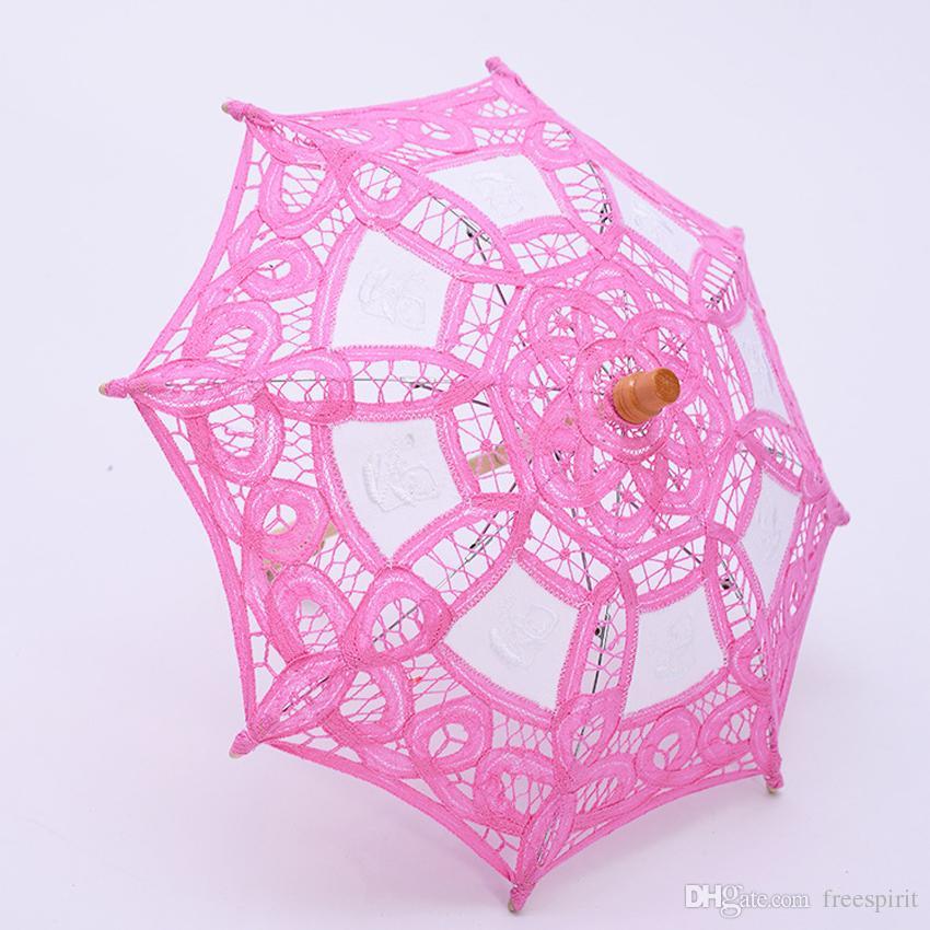 Kids Beige Lace Parasol Umbrella Fancy Hollow Flower Girls Children Wedding Parasols Good Quality Rainbow Color