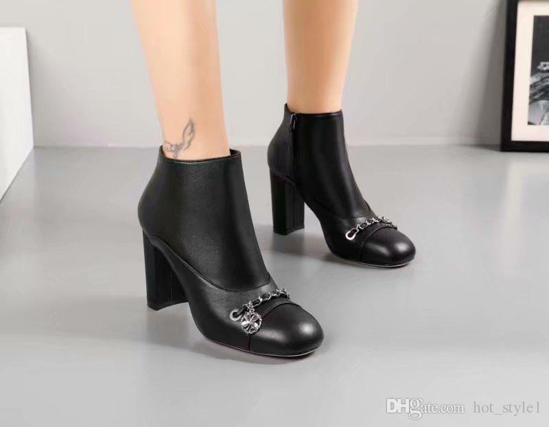 3685502bd Compre Punta Redonda De Mujer Negro Otoño Invierno Nuevo Estilo Botines De  Cuero De Cadena Señoras Chunky Heel Sexy Martin Boots Femal Luxury Brand  Botas ...
