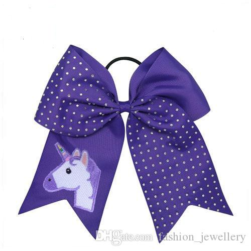DROP SHIPPING Unicorn Hair Bows Cheerleading Rhinestone Cheer Bows With Elastic Band Embroidered Unicorn Ponytail Bow For Girls /