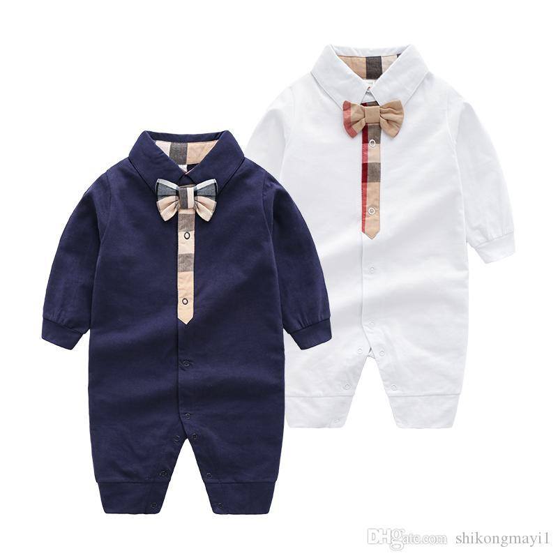 968248075893 2019 Retail New Fashion Newborn Toddler Infant Baby Boys Romper Long Sleeve  Jumpsuit Playsuit Little Boy Clothes From Shikongmayi1